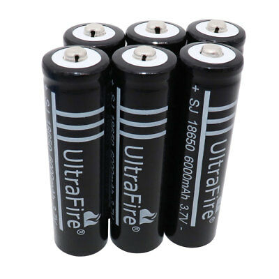 6 x 18650 3.7V 6000mAh Rechargeable Li-ion Battery For Flashlight Torch Lantern