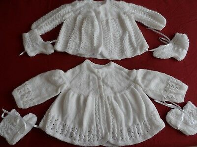 Two Hand Knitted Baby Matinee Coats  & Two Pairs Of Bootees  ( A5 ).