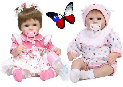 "16"" Simulation Baby Doll Soft Silicone Cute Girl Toy Blonde Hair Children Model"