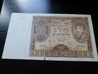 Poland Old Banknote 100 Zlotych 1934 Used