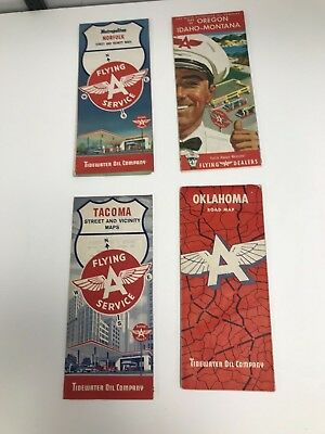 Lot Of 4 Vintage 1950's/60's Miscellaneous State/city Flying A Road Maps