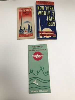 Lot Of 3 Vintage 1939 (2) &1964/65 (1) New York World's Fair Flying A Road Maps