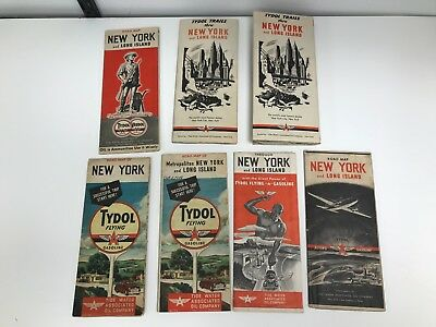Lot Of 7 Vintage 1940's New York Flying A Road Maps
