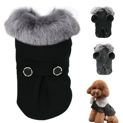 Winter Warm Dog Coat Jacket Fur Collar Puppy Dog Clothes for Small Medium Dogs