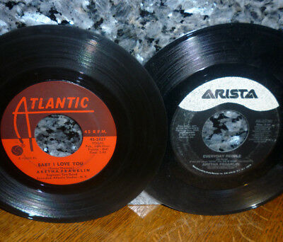 """< SALE! 2 CLEAN VG+ ARETHA 45s: '67 """"BABY I LOVE YOU"""" + '91 """"EVERYDAY PEOPLE"""""""