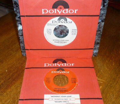 """< WHO ROGER DALTREY 1980 #20 """"WITHOUT YOUR LOVE"""" 2 CLEAN M- 45s/SLVs/JUKESTRIP"""