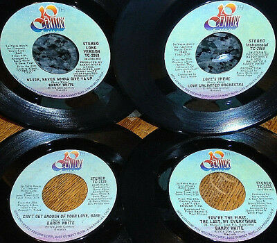 """< 4 BARRY WHITE CLEAN VG M- 45s! """"LOVES THEME/CANT GET ENOUGH/1st LAST/NEVER"""""""