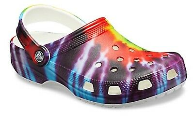 CROCS Classic Tie Dye Graphic Vegan Clogs Shoes, every pair is different, Unisex