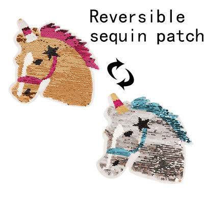 horse unicorn reversible change color sequins sew on patches diy applique craftE