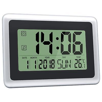 HeQiao Slim Large LCD Digital Alarm Clock Day Date Calendar Wall Silent Desk Clo
