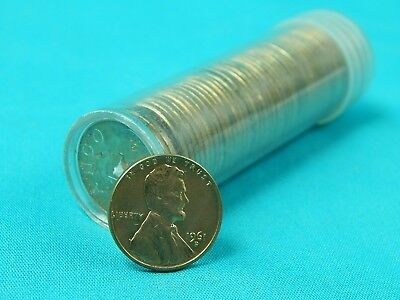Roll of US 1961 D Lincoln Memorial 50 Pennies Penny 1 One Cent Coin Coins *