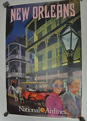 RARE Vintage National Airlines Travel Poster New Orleans