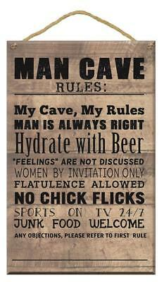 Men's Wooden Novelty Man Cave Rules Wall Plaque Sign Gift Present Gift