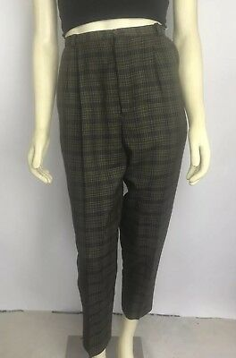 VNTG Vintage 90s High Waisted Pleated Plaid Checkered Trouser Pants Clueless 6