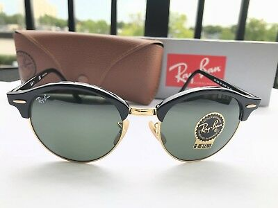 8f25ec6416 Ray-Ban Clubround Double Bridge Sunglasses RB4346 901 Black Frame G-15 Lens