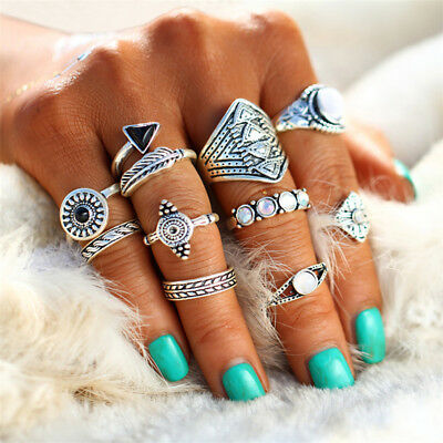 Women's Trendy Retro Tribal Ethnic Hippie Joint Punk Knuckle Ring Set Jewelry G