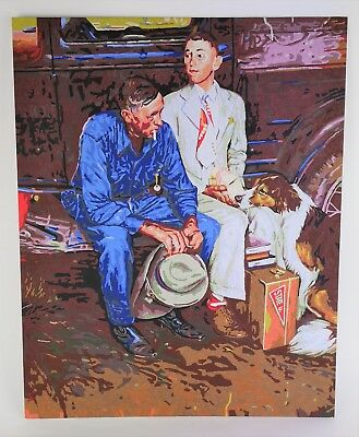 COMPLETED PAINT BY NUMBER PAINTING State U Norman Rockwell Two Men By Car 16x20