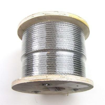 "500ft - Cable Railing T316 Stainless Steel Wire Rope Cable Strand, 1/8"", 7x7"