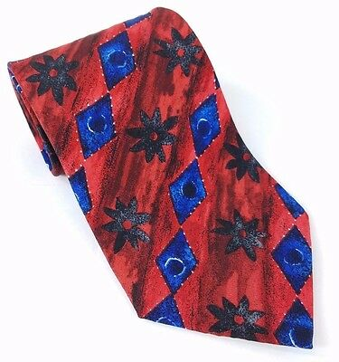 HUGO BOSS Red & Blue Geometric Silk Tie, ITALY Luxury Designer Mens Necktie