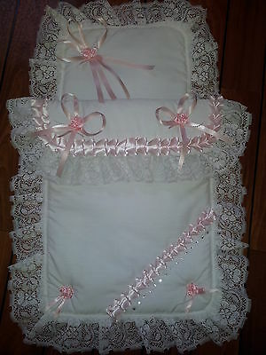 Stunning White and Pink Baby Pram Set Romany Style with Lace & Crystals