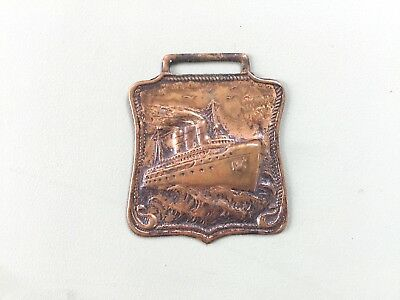 Antique Unknown Ocean Liner  Brass Luggage Tag Steamer Steam Ship Very Old