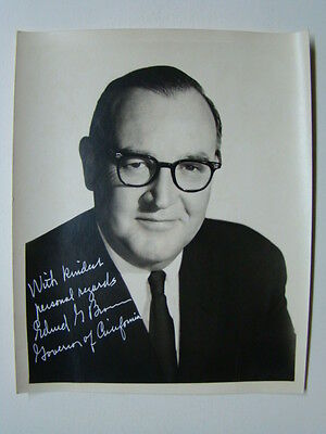 "32nd California Govenor Edmond G ""Pat"" Brown Signed 8 x 10 Photograph 1960's"