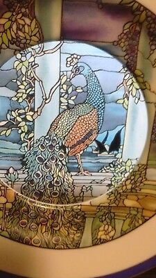 HAMILTON TIFFANY Stained Glass Garden PEACOCK LTD. Edition Collector Plate 7-5/8