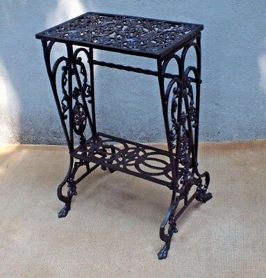 Antique Ornate Cast Iron Radio Stand or Plant Shelves with a Bronzed Finish