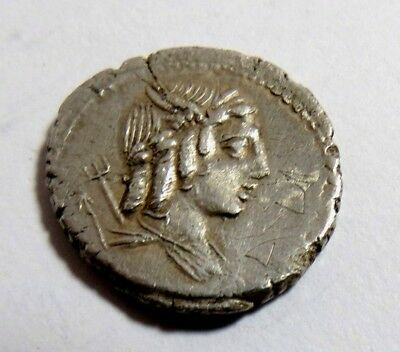 Ancient Roman Republic Silver Coin Denarius L. Julius Bursio 85 Bc.