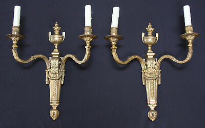 Pair of Antique 2-armed Dore Bronze Sconces, gilt/gold, flame, urn, classical