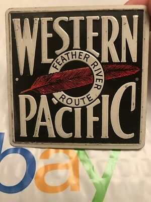 VINTAGE WESTERN PACIFIC 1950's POST CEREAL MINI TIN RAILROAD TRAIN SIGN RARE