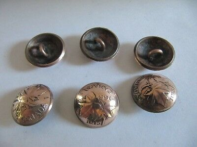 Original Canadian Old 1960S 1 Cent Maple Leaf Shank Buttons Set Of 6 Handmade !