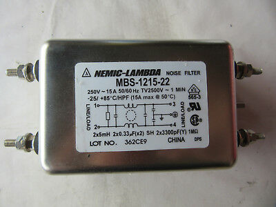 Nemic-Lambda MBS-1215-22 Noise Filter 15A 250V NEW!!! with Free Shipping