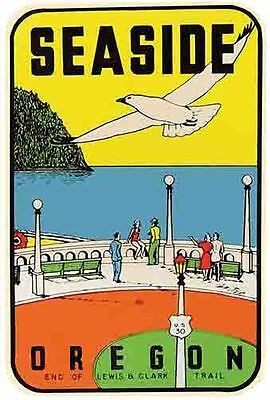 Seaside Oregon    Vintage 1950's Style  Travel Decal Sticker Label  Coast