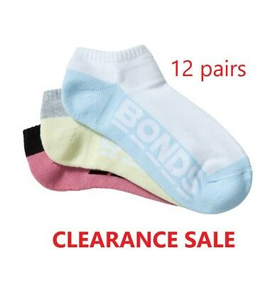 BONDS 12 PAIRS LOW CUT WOMENS SOCKS Sports Logo Sock WHITE BLACK*CLEARANCE SALE*