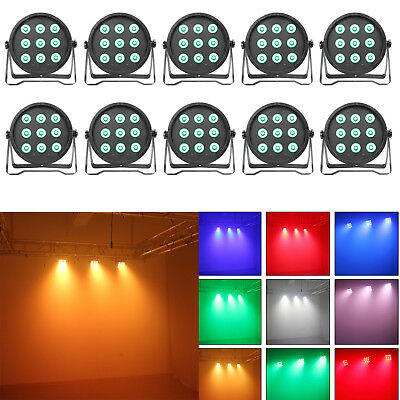 Wedding Stage PAR Can Light RGBW LED DJ DMX512 Color Mixing Wall Washer 10 Pack