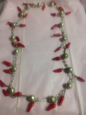 Handcrafted Vintage Necklace Silver Red Wooden Chili Peppers Long Spicy CHIC