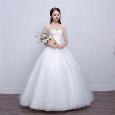 White Ivory Lace Wedding Dress Bridal Gown Bead Ball Gown Short Sleeve Dress