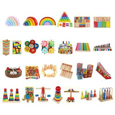Baby Preschool Montessori Kindergarten Stacking Blocks Domino Wooden Puzzle Toy