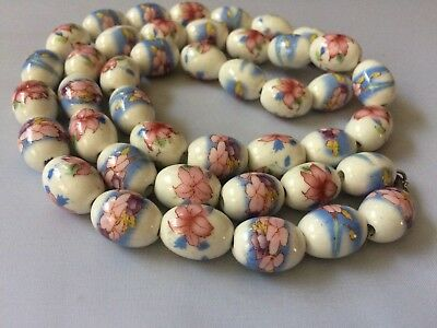 Stunning Vintage Large Chinese Asian Porcelain Flower Floral Beads Necklace
