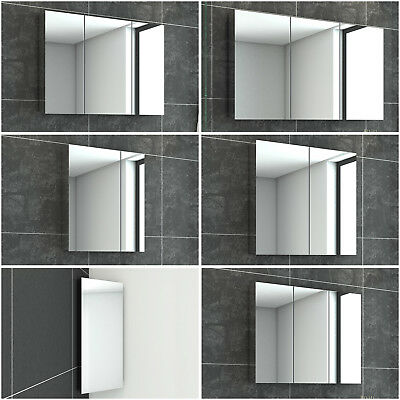 350-1200mm Bathroom Mirror Cabinet All Stainless Steel Storage Shaving Wall Hung