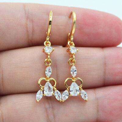 18K Yellow Gold Filled Women Hollow White Teardrop Zircon Topaz Drop Earrings