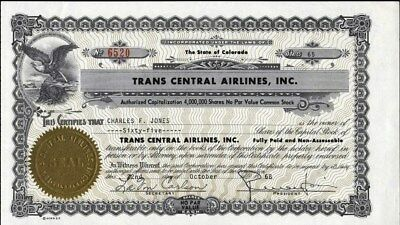 Trans Central Airlines, Inc, Of Colorado, 1968 Uncancelled Stock Certificat