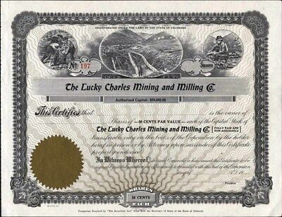 Lucky Charles Mining And Milling Co Of Colorado, 19--, Unissued, Crisp Stock Cft