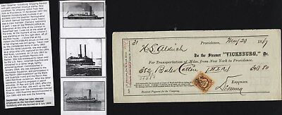 Steamer Vicksburg Shipping Receipt, 1867 With History And 3 Pictures Of Steamer