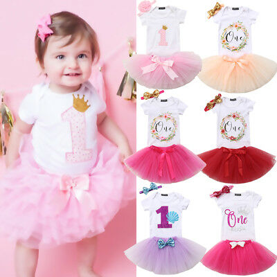 Baby Girl First 1st Birthday Outfit Romper Tutu Skirt Dress Cake Party Headband