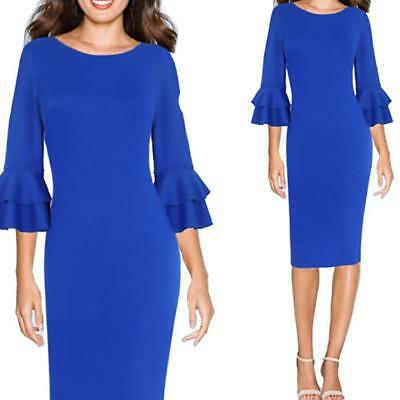 Women Round Neck Double-layer Flared 3/4 Sleeve Slim Fit Dress Hip Skirt Blue