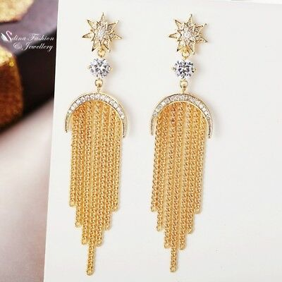 18K White & Yellow Gold GF Simulated Diamond Crescent Moon Star Tassel Earrings