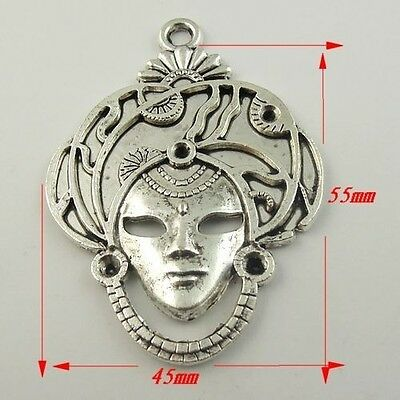 8pcs Antique Style Silver Tone Alloy Lady Head Pendant Charms 55mm