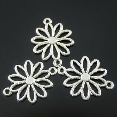 SC5254 12 Flower Connector Charms Antique Silver Tone